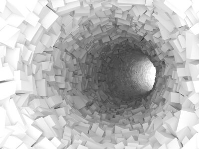 Wall mural Tunnel with walls made of chaotic blocks 3d