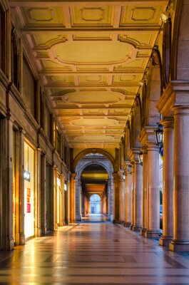 Wall mural Turin (Torino), typical arcades in the historic old city centre