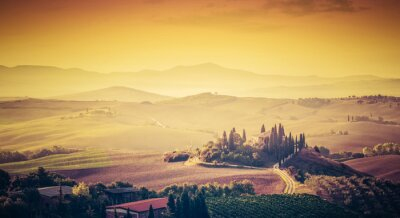 Wall mural Tuscany, Italy landscape. Super high quality panorama taken at wonderful sunrise.