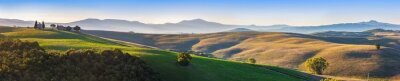 Wall mural Tuscany landscape panorama at sunrise with a chapel of Madonna d