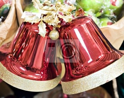 Two big Christmas bells for holiday decoration.