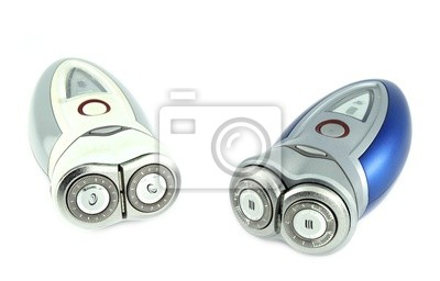 two electric shaver isolated with white background