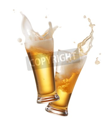 Wall mural two glasses of beer toasting creating splash