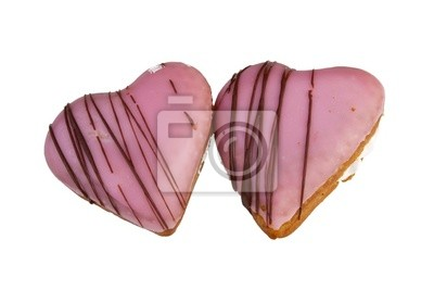 Two heart shaped donuts