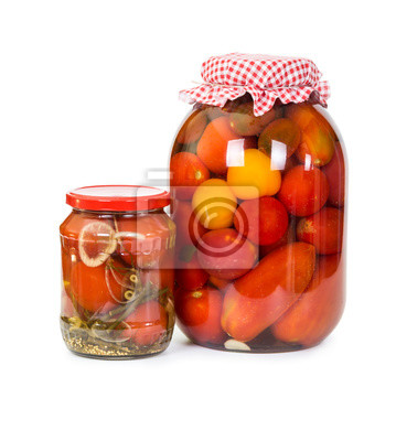 Two jars of canned tomatoes