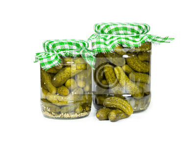 Two jars pickled cucumbers