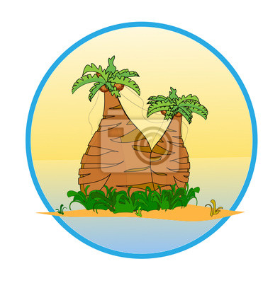 Two palm tree on the tropical island