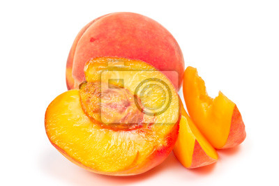 two peaches isolated on white background