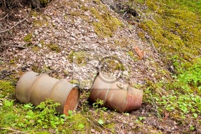 Two rusty barrels at forest