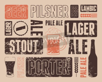 Wall mural Typographic retro grunge beer poster. Vector illustration.
