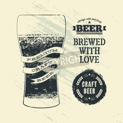 Wall mural Typography vintage grunge style beer poster with glass of beer. Vector illustration.