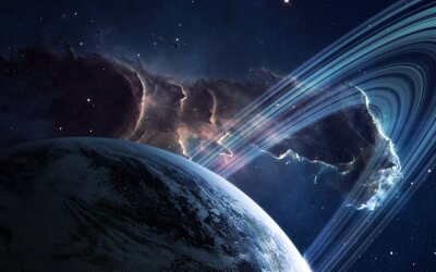 Wall mural Universe scene with planets, stars and galaxies