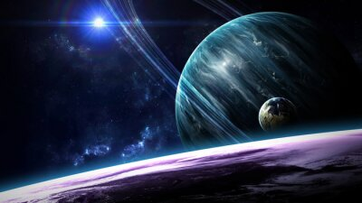 Wall mural Universe scene with planets, stars and galaxies in outer space showing the beauty of space exploration. Elements furnished by NASA