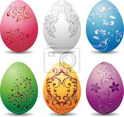 Uova a Colori-Six Colored Eggs-Oeuf Couleurs-Vector