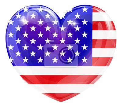 USA flag love heart
