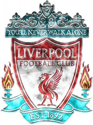 Wall mural Used badge of FC Liverpool