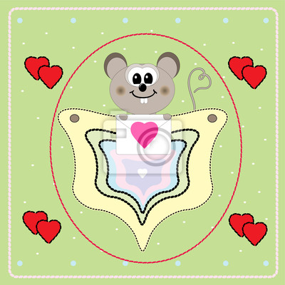 Valentine's Day card with little mouse
