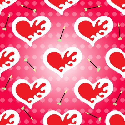 Valentine's Day seamless pattern heart and arrow
