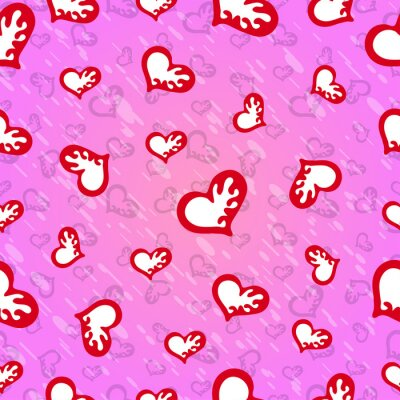 Valentine's Day Seamless pattern of red hearts on a pink background