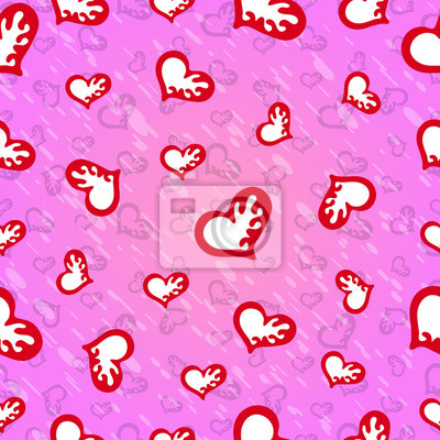 Valentine's Day Seamless pattern of red hearts on a pink background vector image