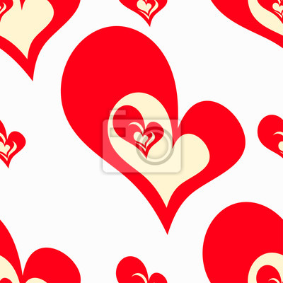 Wall mural Valentine's Day Seamless pattern of red hearts Vector