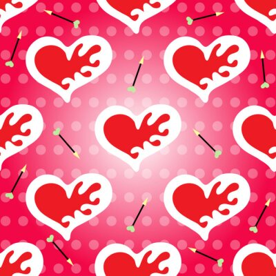 Wall mural Valentine's Day seamless pattern vector heart and arrow