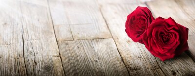 Wall mural Valentines Card - Sunlight On Two Roses In Love
