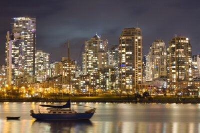Wall mural Vancouver Skyline and Sailboat