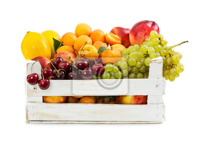 Various fruits in wooden box