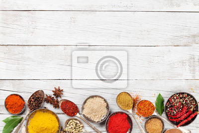 Wall mural Various spices and herbs