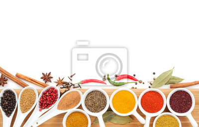 Wall mural Various spices selection