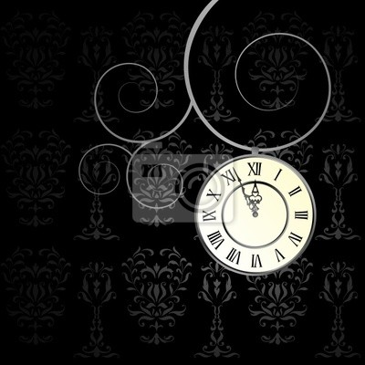 vector background with a clock - moving hands of the clock