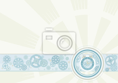 Vector background with alarm clock and pinions