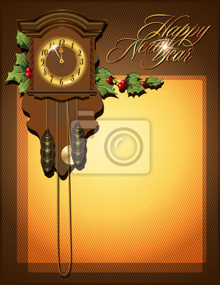 Vector background with clock for Christmas and New year