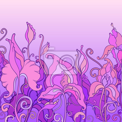 Vector background with ornament of the graphic flowers