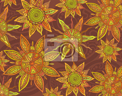 Vector background with ornament of the graphic suns.