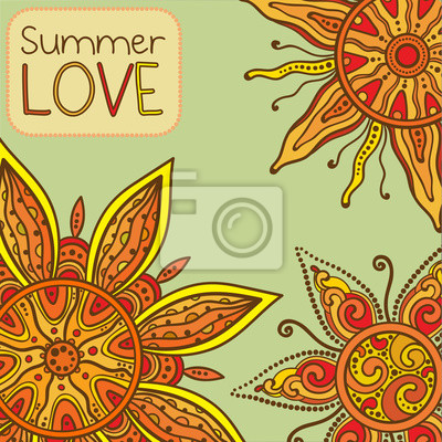 Vector background with ornament of the graphic suns Summer love