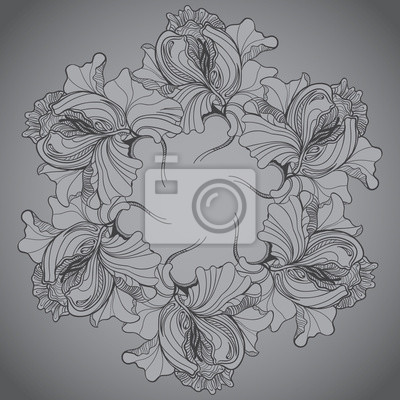 Vector background with ornament of the grayscale graphic flowers