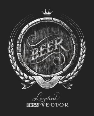 Wall mural Vector barrel of beer drawn on the chalkboard. RGB. One global color. Gradients free. Each elements are grouped separately
