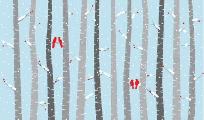 Wall mural Vector Birch or Aspen Trees with Snow and Love Birds
