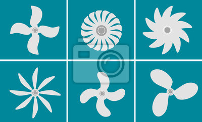 Vector black fans and propellers icons set