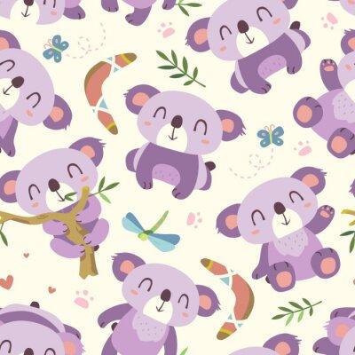 Wall mural vector cartoon style koala seamless pattern