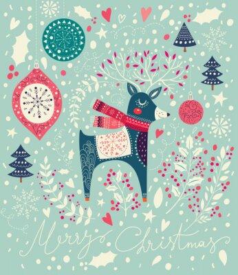Wall mural Vector Christmas illustration with adorable deer