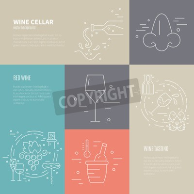 Wall mural Vector concept of wine making process with different wine industry symbols including glass, grape, bottle, corckscrew with sample text. Perfect background for wine-related design.