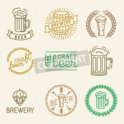 Wall mural Vector craft beer and brewery logos and signs in trendy linear style - mono line badges and emblems with text and lettering for beer houses,  pubs and  brewing companies