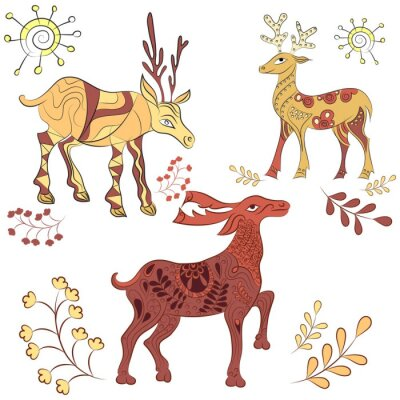 Wall mural Vector decorated deers with nature elements. Hand drawn illustration. Scandinavian, Indian style. Ornament elements