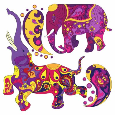 Wall mural Vector decorated Indian Elephant