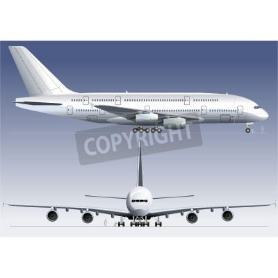 Wall mural Vector double-deck Lagest Jetliner A380