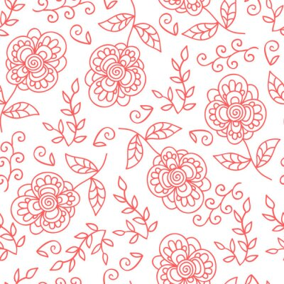 Wall mural Vector flower and leaves seamless pattern. Doodle cute flowers.