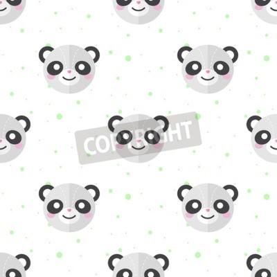 Wall mural Vector funny flat cartoon panda heads seamless pattern. Panda background.